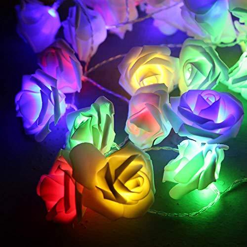 Cadena de luces con 50 luces LED que funcionan con pilas, para dormitorio, boda, cumpleaños, reunión familiar o decoración de jardín (luz multicolor, 5 m de color blanco)