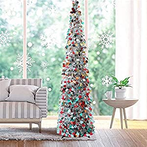 Fonder Mols 5ft Collapsible Artificial Christmas Tree, Pop Up Silver Tinsel Coastal Christmas Tree for Holiday Carnival Party Decorations