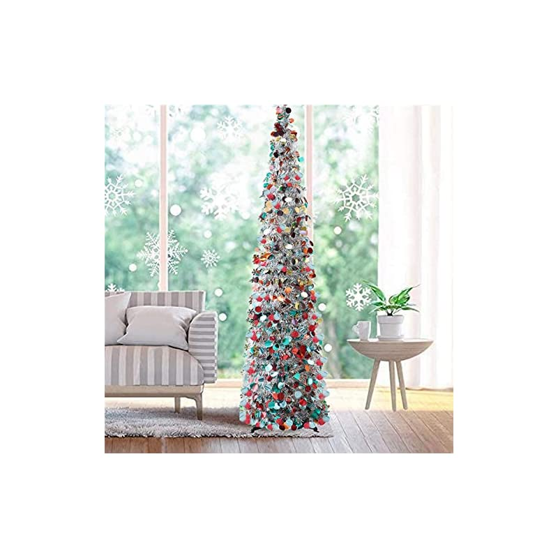 silk flower arrangements fonder mols 5ft collapsible artificial christmas tree, pop up silver tinsel coastal christmas tree for holiday carnival party decorations