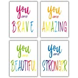 Interesting Typography Watercolor Word Inspirational Quote, Modern Art Motivational Phrase Wall Art Poster for Nursery or Kids Room Home Decor, Girls Room Decor Painting, Posters For Teen Girls Room, 4-piece Set (8x10 inches) No frame included (red)