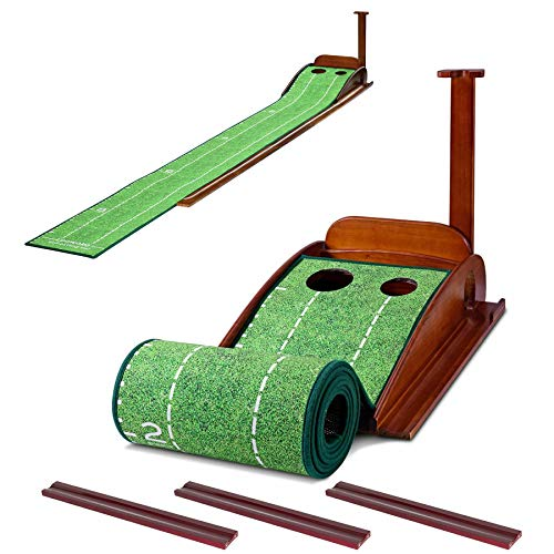 GLOTOP Golf Putting Green Mat with Wood Auto Ball Return System, Game Practice Golf Gifts for Home, Office, Backyard Indoor Golf and Outdoor Use, Crystal Velvet Mat and Solid Wood Base