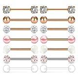 Mayhoop Piercing Lengua Piercing Pezón Acero Quirúrgico 14G Oro Rosa CZ Bola Aros de Lengua Pezón Barbells Piercing Joyería 14Pcs