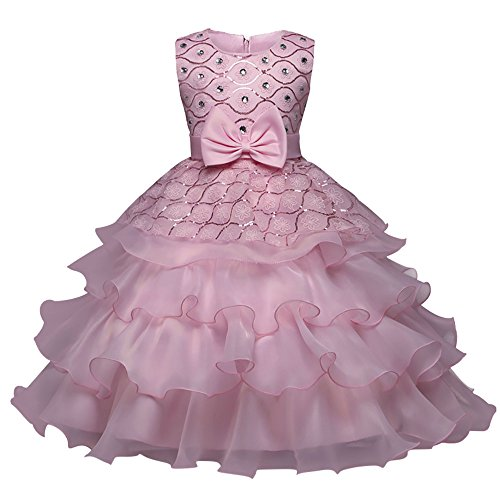 Mädchen Kleider Kinder Kleinkind Baby Strass Schleife Prinzessin Kleid Einfarbiges Maschen Rockabilly Abendkleid Elegant Ohne Arm Party Hochzeit Ballkleid (Rosa, 110)