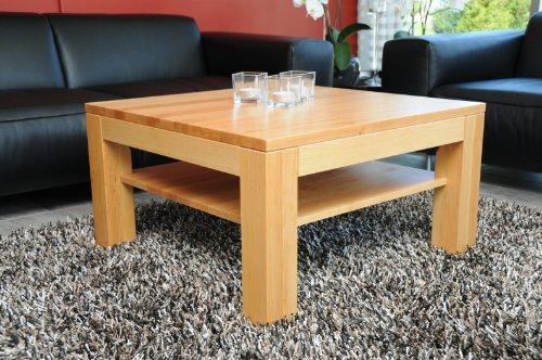 Holz-Projekt-Summer Couchtisch Tisch 60x60cm Höhe 42cm Zarge bündig mit Ablage Erle/Echtholz Massivholz/Wunschmaß auf Anfrage