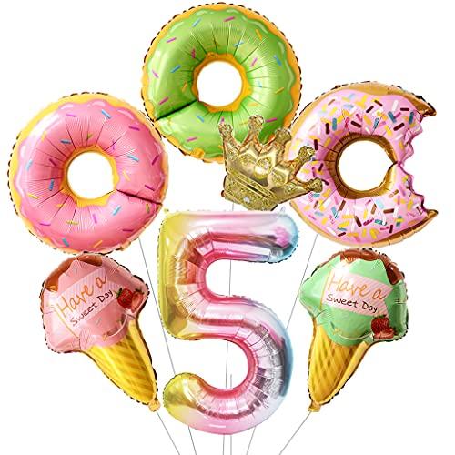 Daimay Juego de globos con números de donut para helados, de aluminio corona, de papel de aluminio helio y donut redondo para baby shower, boda, 5 cumpleaños de bebé, suministros para fiesta