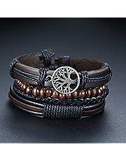 Bracelet 4Pcs/ Set Braided Wrap Leather Bracelets For Men Vintage Life Tree Rudder Charm Wood Beads Ethnic Tribal Wristbands|Wrap Bracelets|