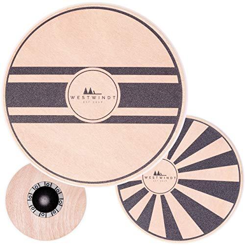 WESTWINDT® Holz Balance-Board in Zwei Varianten für Fitness, Muskelaufbau und Entspannung - Therapiekreisel mit 40 cm Durchmesser, Variante Horizont