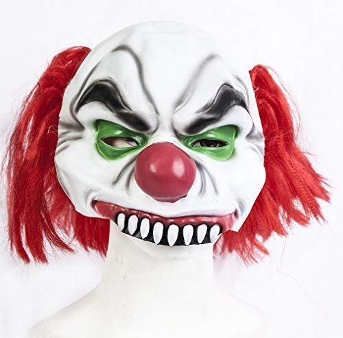 De Rubber Plantation TM 619219290029 Halve Hoofd Killer Clown Halloween Fancy Jurk Latex Masker Kostuum Accessoire, Unisex-Volwassene, Een Maat