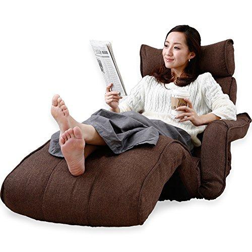 LOWYA ロウヤ 座椅子 ソファ 肘掛け 3Dヘッド リクライニング ポケットコイル ダークブラウン