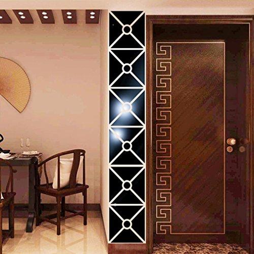 Saihui - 10 pegatinas de pared de acrílico 3D rectangulares extraíbles para manualidades, decoración del hogar, sala de estar, dormitorio, decoración de regalos negro