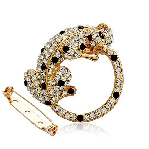 Modolady Sieraden Legering Oostenrijkse Diamant High-Grade Broche Wild Luipaard Broche Honderd Bijpassende Zijde Sjaal Gesp 34 * 46Mm