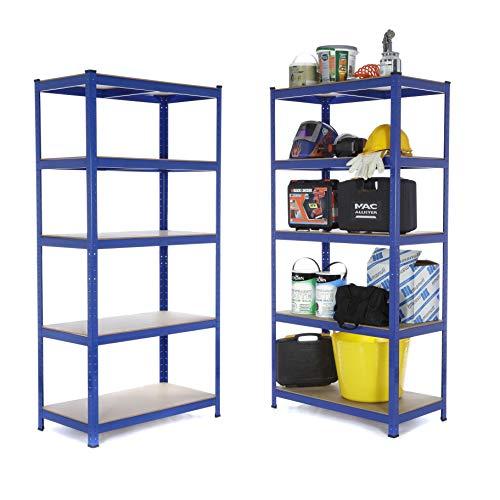 /Étag/ère de garage en acier robuste 200 kg par /étag/ère 5 niveaux 1800 mm H x 1800 mm l x 600 mm D avec 16 bo/îtes de rangement transparentes de 60 l