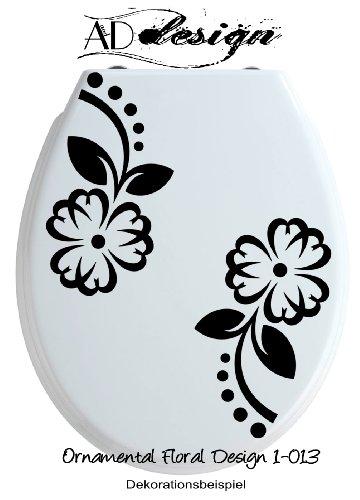 LIFESTYLE Serie ***Ornamental Floral Design 1-013*** Aufkleber für WC Toiletten Deckel & alle glatten Oberflächen - freie Farbauswahl! (auch zweifarbig lieferbar)