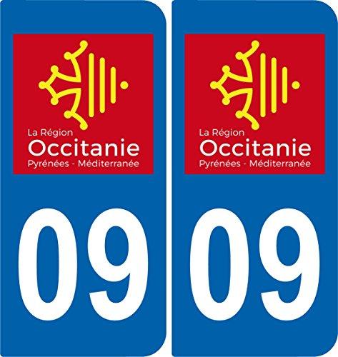 SAFIRMES 2 Stickers Autocollant Plaque immatriculation Auto 09 Occitanie - Logotype