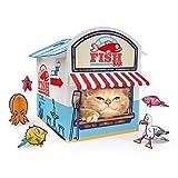 SUCK UK Casa de Juegos para Gatos | Novedad quiosco para Gatos | Juguete para Gatos y Accesorios | Embalaje Plano y fácil de Montar, Azul/Blanco/Rojo, Talla única