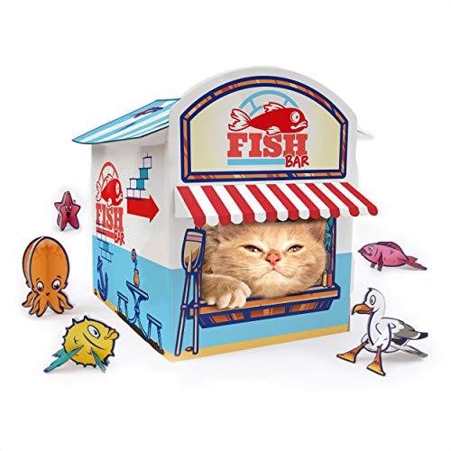 SUCK UK Katzen-Kiosk-Spielhaus | Katzenspielzeug | Katzenhaus aus Karton | Katzenzubehör | Katzenspielhaus | Papphaus | Kätzchen-Zubehör | Katzenhöhle | Katzen-Versteck mit 3D-Spielzeugen aus Karton