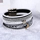 Bracelet En Cuir Pour Hommes, Glass Crystal Bracelet Bangle Mode Super Large Boucle Magnétique Multicolore Bijoux En Alliage De La Personnalité Des Femmes Choisissez Accessoires Bracelet Brillant C