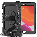 iPad 8th/7th Generation Case 2020 2019 with Pencil Holder Screen Protector | SIBEITU iPad 10.2 Case for Kids | Full Body Heavy Duty Shockproof Rugged A2200 Protective Cover w/ 360° Stand Strap | Black