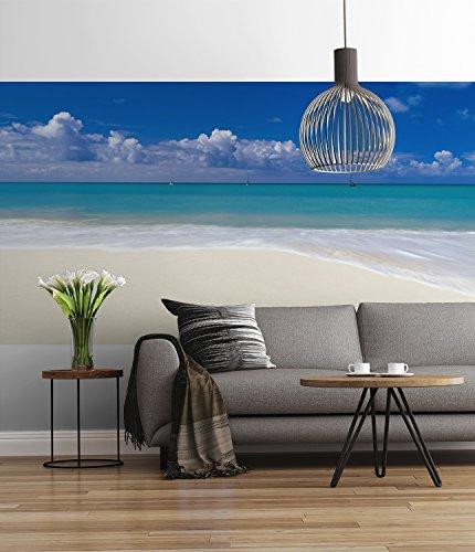 Sunny Decor - fotobehang DESERTED BEACH - 368 x 127 cm - behang, muurdecoratie, strand, zand, zee, oceaan - SD712