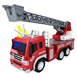 🚒【High Simulation & Strong Playability】: With the rescue sound and flashing lights of a simulated fire truck, the body of this toy car is also equipped with a ladder that can lift and retract freely. The operating table can be rotated 360 degrees, br...