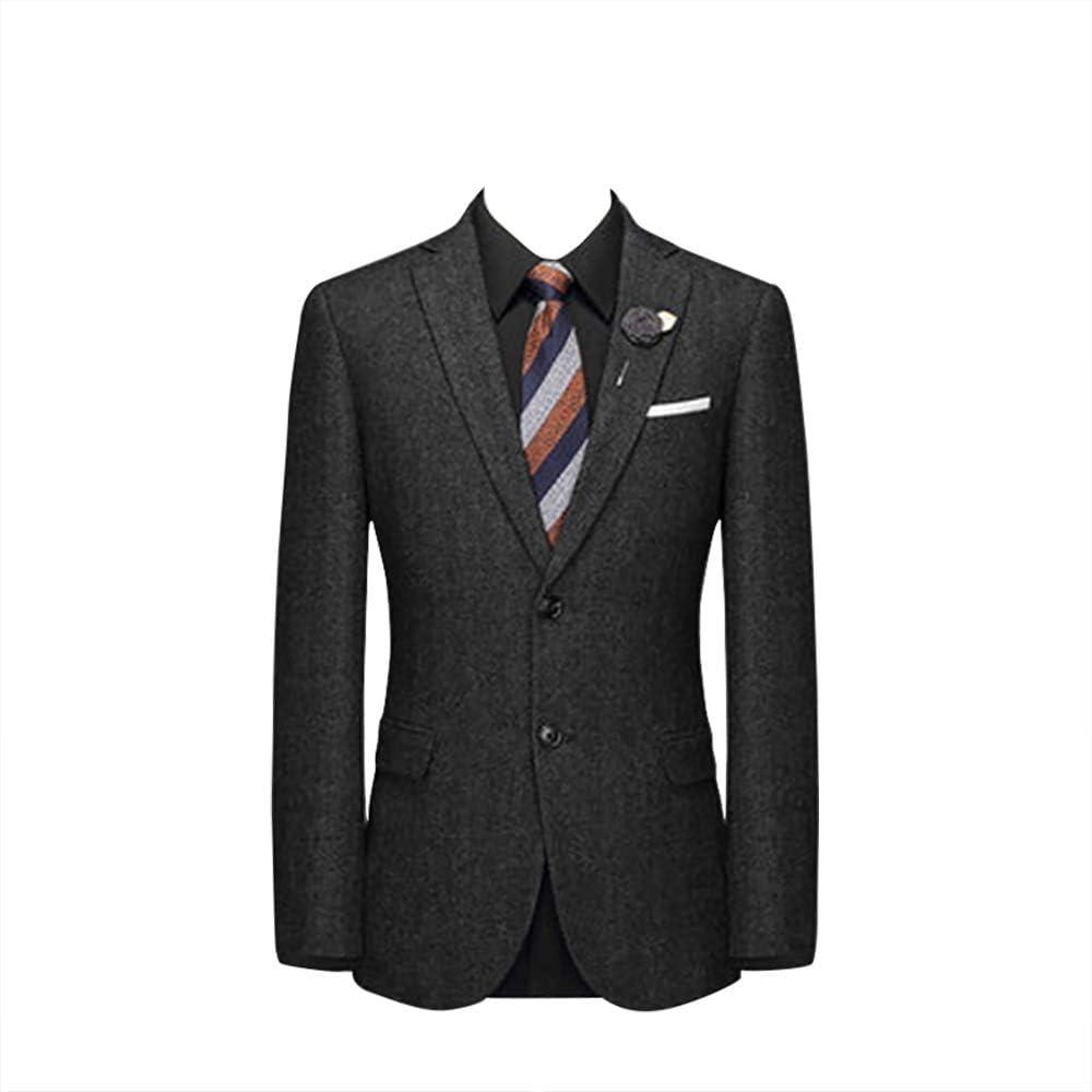 Charcoal Tweed Herringbone Mens Suits - Vintage Wool Tailored Men Suit Dark Grey Slim Fit 3 Pieces