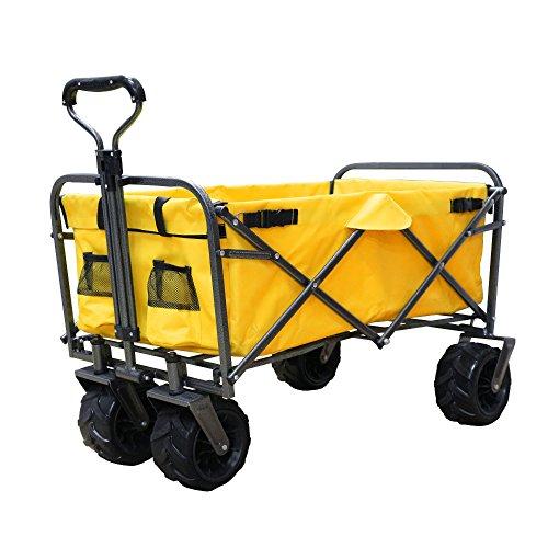 DABADA(ダバダ) キャリーカート 耐荷重150kg 容量95L アウトドアワゴン 折りたたみ 軽量 大型タイヤ 4輪 (Yellow)