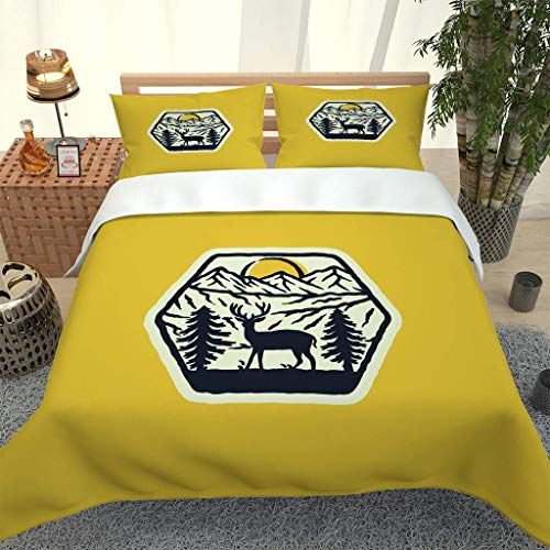 PKTMK Bedding Duvet Cover with 2 Pillowcases Printed Yellow theme pattern Quilt Cover Set with Zipper Closure Anti-allergic Bedding For Kids adult Double 200x200cm