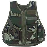 Chaleco táctico para niños Tipo Camuflaje Guardia de Seguridad Chalecos Entrenamiento de Combate en Campo Militar (s-Camuflaje de la Selva)