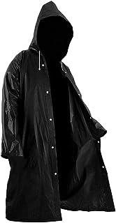 Serenable Moda masculina sólido preto chuva poncho manga comprida com capuz capa de chuva impermeável packable chuva jaque...
