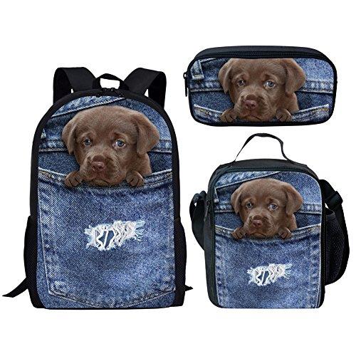 HUGS IDEA Lightweight Student School Bag Bookag Set Pocket Dog Denim...