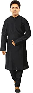 JBN Creation Men Black Cotton Silk Kurta Pyjama (Size: 44)