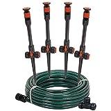 Eden 97063 Multi-Adjustable Flex Design Above Ground Irrigation Garden Sprinkler System, Sprinkler & Hose, DIY Plant Watering Set