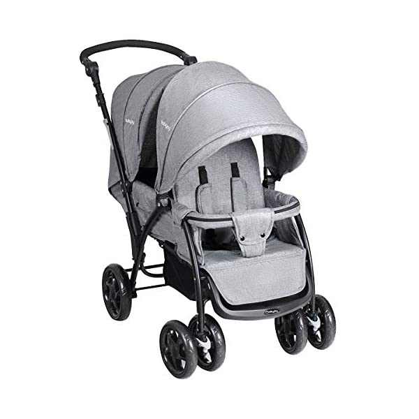 GYMAX Double Seat Stroller with Adjustable Push Handle and Foot Rest, Detachable Canopy, Foldable Baby Pushchair Buggy for Traveling, Going Shopping, Hanging Out GYMAX ✔DOUBLE SEAT DESIGN: The baby Stroller has front and back seats for two babies which can free your hand and no need for cuddling the baby, you can take care of two babies together. ✔MULTIPLE ADJUSTABLE POSITION: There are four adjustable parts: handlebar, canopy, footrest and backrest, the thoughtful design allow you to set a suitable position in different condition and make baby feel comfortable without crying. ✔360°SWIVEL WHEELS WITH BRAKES: The front wheels with anti-shock function can go any direction, the rear wheels have a connector that can be braked in one step. 3