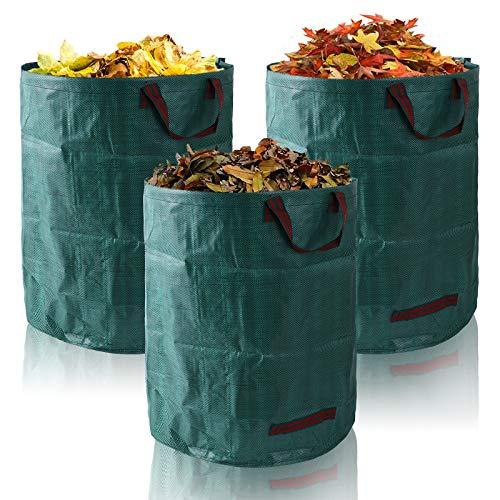 FORMIZON Faltbar Abfallsäcke, 3er Set Gartensack, 272L Gartenabfallsack Selbstaufstellend, Gartenabfallsäcke Professional für Gartenabfälle Laub Rasen Pflanz Grünschnitt (A)