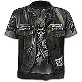 Moda uomo e ragazzo T-Shirt Teschio Uomo - Gotica - Rock - Punk - Dark - Divertenti - Metal - Motociclista - Maniche Corte - Ragazzo - President - Anarchy - Halloween - Colore Nero - Taglia XXXXL