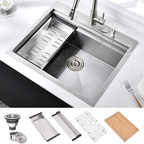 HOSINO 25 Inch 16 Gauge Double Ledge Workstation Drop In Kitchen Sink, Topmount RV Sink 304 Stainless Steel Single Bowl Kitchen Prep Sink Entertainment Bar Sink with Accessories