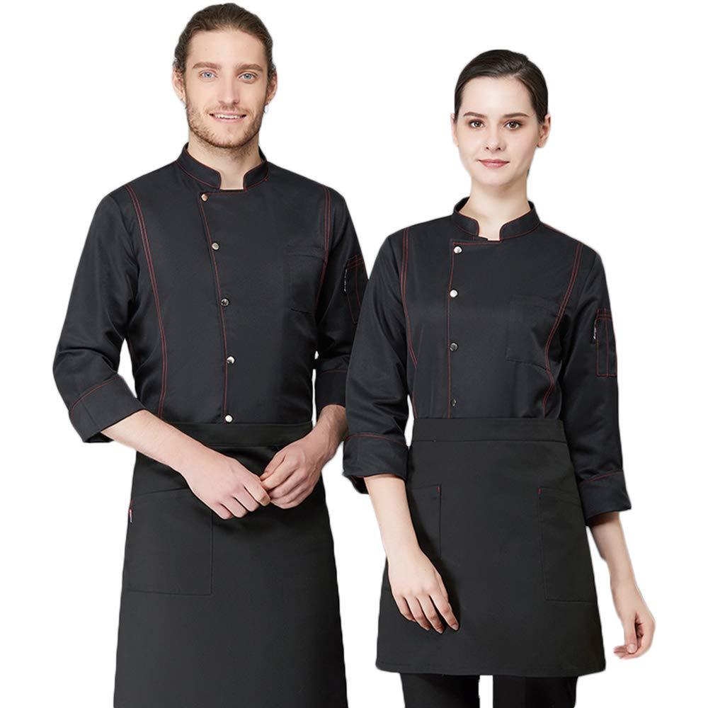 Camisa de Cocinero Cocina Uniforme Manga Larga Azul Blanco Negro Colores Múltiples Disfraz de Chef Impermeable Protección Del Medio Ambiente,Negro,XXL: Amazon.es: Hogar