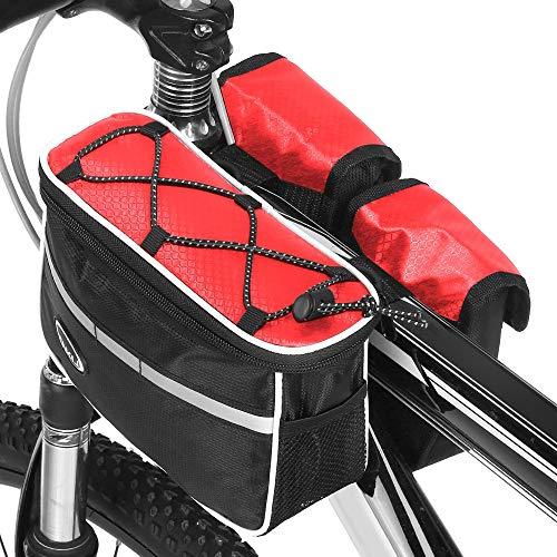 Lixada Fahrrad-Oberrohrtasche, wasserdicht, für Mountainbikes, Vorderradtasche, Handyhalterung, Aufbewahrungstasche, Doppelpacktasche mit Regenschutz