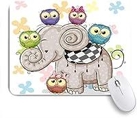 ZOMOY マウスパッド 個性的 おしゃれ 柔軟 かわいい ゴム製裏面 ゲーミングマウスパッド PC ノートパソコン オフィス用 デスクマット 滑り止め 耐久性が良い おもしろいパターン (象のフクロウのかわいい漫画)