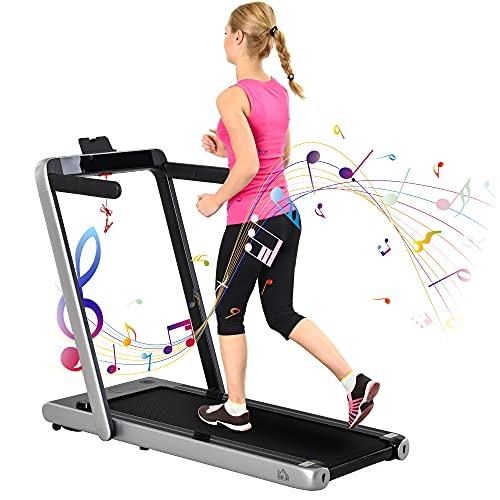 HOMCOM Elektrisches Laufband mit LCD-Display mit Bluetooth Faltbares Fitnessgerät 1-12 Km/h Stahl Schwarz+Silber 134 x 66 x 107 cm
