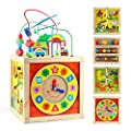 Tollon Wooden Baby Activity Cube Toys Bead Maze Shape Sorter First Birthday Gift for 1 2 Year Old Girl Boy Toddlers Educational Learning Toys 12-18 Months Kids