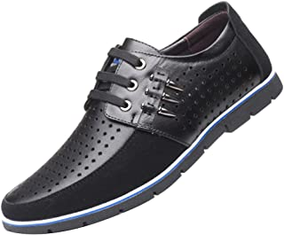 Aiweijia Men's Leather Shoes Round Toe Hollow Leather Shoes Light weighr Breathable Business Leisure Hollow Lace Up Shoes