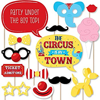 Big Dot of Happiness Carnival - Step Right Up Circus - Carnival Themed Party Photo Booth Props Kit - 20 Count