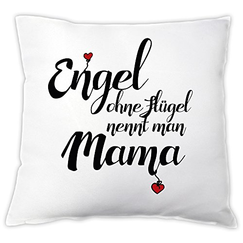 4you Design Kissen Engel ohne Flügel nennt Man Mama, Zierkissen, Dekokissen, Geschenkidee, Muttertagsgeschenk, Geschenk zum Muttertag, Geburtstag, zu Weihnachten, für die Mama, Mutter