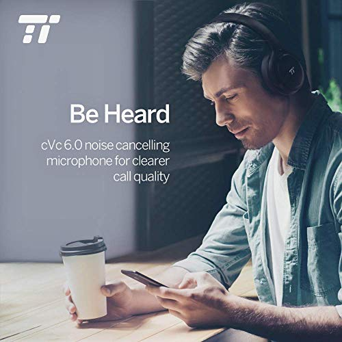 TaoTronics Active Noise Cancelling Bluetooth Headphones Wireless Over Ear Headset Foldable Earphones with Powerful Bass (Dual 40 mm Drivers, 30 Hour Playtime) (Renewed)