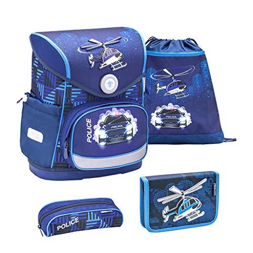 Belmil ergonomischer Schulranzen Set 4 -teilig für Jungen 1-4 Klasse Grundschule//Brustgurt/Magnetverschluss/Polizei, Police/Blau, Blue (405-41 Police Car)