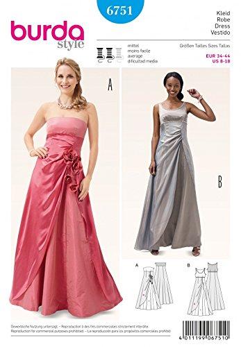 Burda para mujer patrón de costura para vestidos de fiesta de chica 6751 + incluye Minerva Crafts Craft guía de