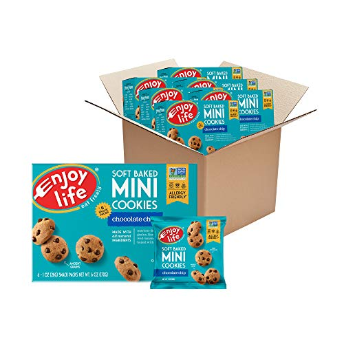 Enjoy Life Foods Mini Soft Baked Cookies, Nut Free Cookies, Vegan, Gluten Free, Chocolate Chip, 1 Ounce (Pack of 36)