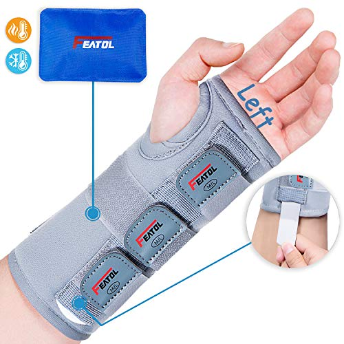Wrist Brace for Carpal Tunnel, Adjustable Arm Compression Hand Support with Splints & Ice Pack Wrap, Left Hand, Medium/Large, Wrist Support Brace for Tendinitis,Injuries, Wrist Pain, Sprain, Sports