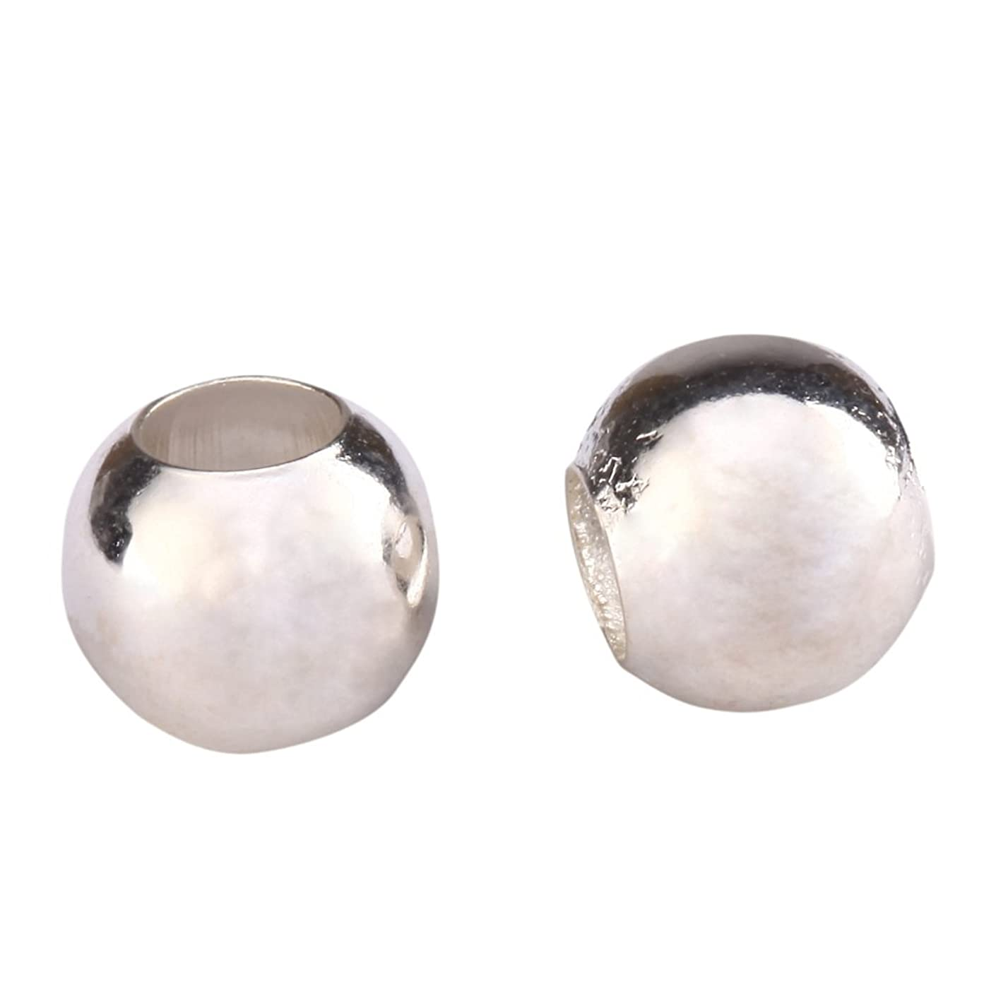 100pcs Top Quality 10mm Smooth Silver Loose Round Spacer Beads (Large Hole ~3.5mm) for Jewelry Craft Making CF88-10